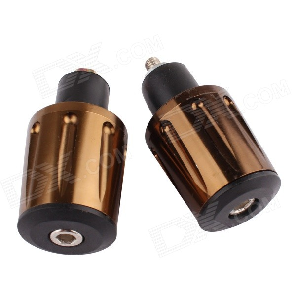 MZ Aluminum Alloy Motorcycle Handlebar Caps / Handle Plug - Bronze + Black mz short universal aluminum alloy motorcycle handlebar ends caps plugs golden pair
