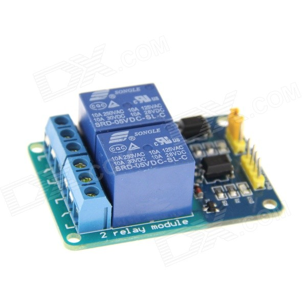 2-CH Relay Expansion Board Module w/ Female to Female DuPont Cable for SCM - Blue expansion module elc md204l text panel