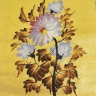 "Hand-painted ""Peony Flowers"" Gold Foil Canvas Oil Painting - Golden + White (45 x 35cm)"