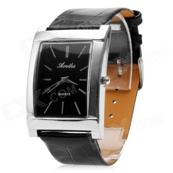 Stylish Square Black Dial PU Band Analog Quartz Wrist Watch - Black