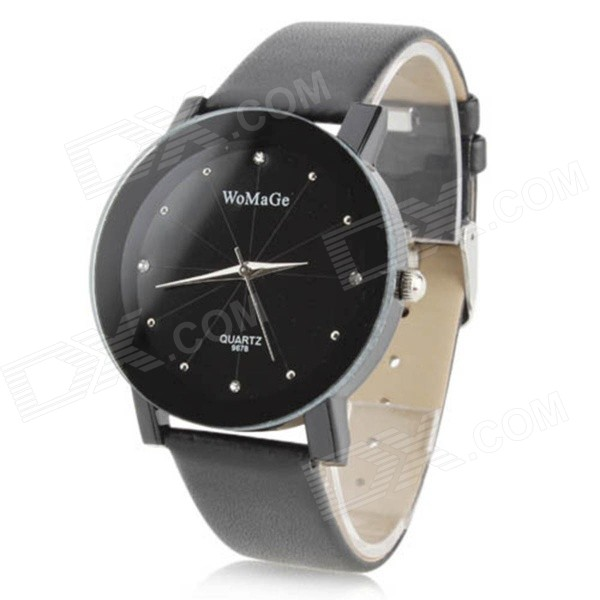 Naisten Vogue PU nahka bändi analoginen Quartz ranne Watch - musta