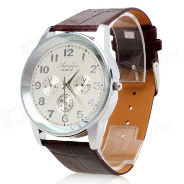 Y117 Men's Water Resistant PU Band Analog Quartz Wrist Watch - Brown