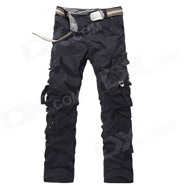 Men's Multi-pocket Cotton Overall Sports Pants - Black (31)