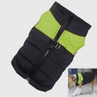 Water-resistant Quilted Padded Warm Winter Coat Jacket for Large Pet Dog - Black + Green (L-XS)