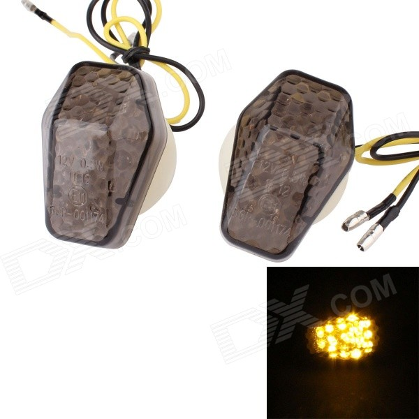 MZ 0.5W 120lm 15-LED Yellow Light Motorcycle Steering Lamp for SUZUKI - White + Brown (2 PCS / 12V) adjustable short folding clutch brake levers for suzuki gsx gsx f 650 f 08 09 10 11 12 13 14 15 2014 gsf 650 bandit n s 2015