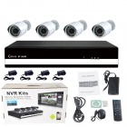 4-CH 720P P2P NVR Kit 4 PCS Mini 1.0MP 3.6mm Day Night Vision Weatherproof IP Camera + 4-CH NVR