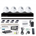 IPCC 4-CH 720P 4 PCS 1.0 MP 3.6mm Day Night Vision IP Dome Camera + 4-CH NVR Dome IP Camera NVR Kit