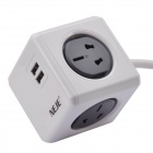 NEJE ZJ0009-2 10A 2400W AU Plug Desk 6-Outlet Socket w/ Dual USB + 1.5m Cable - Gray + White (240V)