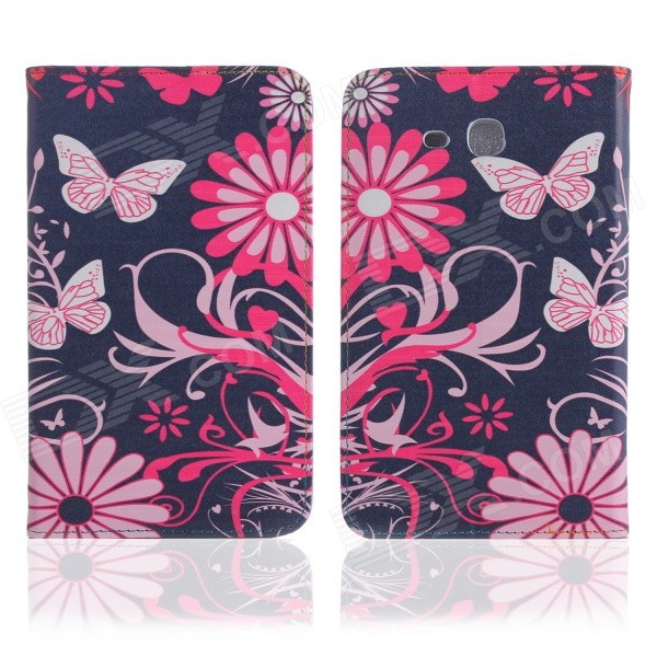 ENKAY Butterfly Pattern Protective Case w/ Stand for Samsung Galaxy Tab 3 Lite T110 - Multicolor kinston flowers butterfly pattern pu plastic case w stand for iphone 6 plus multicolored
