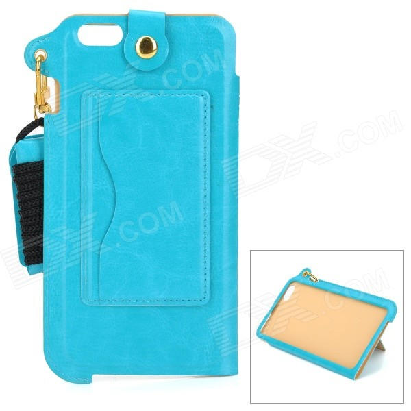 MAX A004 PU Back Case w/ Stand / Card Slot / Strap / Wristband for Samsung Galaxy Note 4 - Sky Blue
