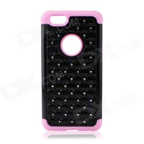 Detachable Rhinestone Protective Plastic + Silicone Back Case for iphone 6 4.7 - Black + Pink point back rhinestone ss4 14400pieces 100gross jet black color chaton free shipping