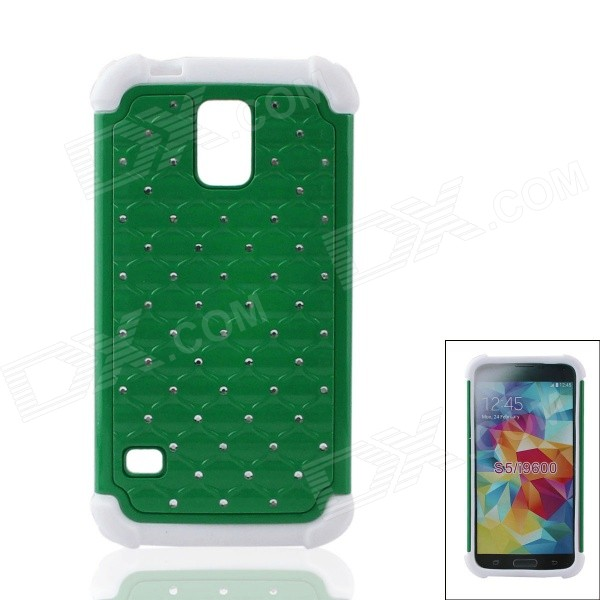 Detachable Rhinestone Protective Plastic + Silicone Back Case for Samsung S5 - Green