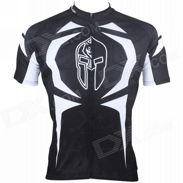 Paladinsport #009DX-S Patterned Short-sleeve Polyester Zipper Jersey for Cycling - White + Black (S)