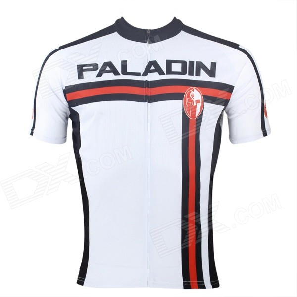 Paladinsport #4DX-S Patterned Short-sleeve Polyester Zipper Jersey for Cycling - White + Red (S) miracool neck bandana re usable 100 s of times keeps you cool red 2 pack