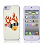 Christmas Deer Pattern PC Back Case for IPHONE 5 / 5S - White + Red
