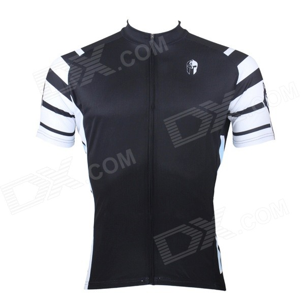 Paladinsport #7DX-S Patterned Short-sleeve Polyester Zipper Jersey for Cycling - White + Black (S)
