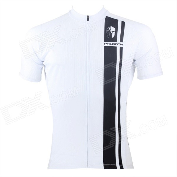 Paladinsport #10DX-S Patterned Short-sleeve Polyester Zipper Jersey for Cycling - White + Black (S)