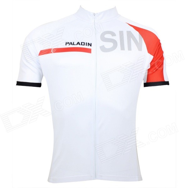 Paladinsport #55DX-S Patterned Short-sleeve Polyester Zipper Jersey for Cycling - White + Red (S) miracool neck bandana re usable 100 s of times keeps you cool red 2 pack