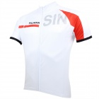 Paladinsport #55DX-S Patterned Short-sleeve Polyester Zipper Jersey for Cycling - White + Red (S)