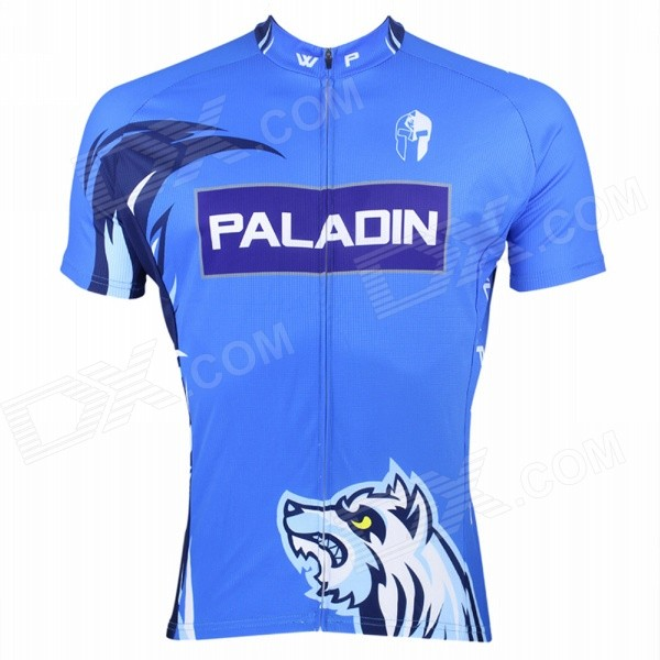 Paladinsport #3DX-S Patterned Short-sleeve Polyester Zipper Jersey for Cycling - White + Blue (S)Cycle Clothing<br>We have 6 sizes available M L XL XXL XXXL. With 3 rear pockets. It can keep you dry and cool in hot weather and warm in cool weather; even when you are sweaty the jersey will not stick to your skin.<br>