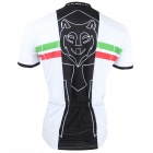 Paladinsport #11DX-S Patterned Short-sleeve Polyester Zipper Jersey for Cycling - White + Black (S)