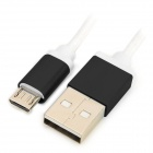 USB 2.0 to Micro USB Braided Charging Sync Data Cable for Samsung - Black + White