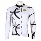 Paladinsport Patterned Long-sleeve Polyester Zipper Jersey for Cycling - White + Black (XXL)