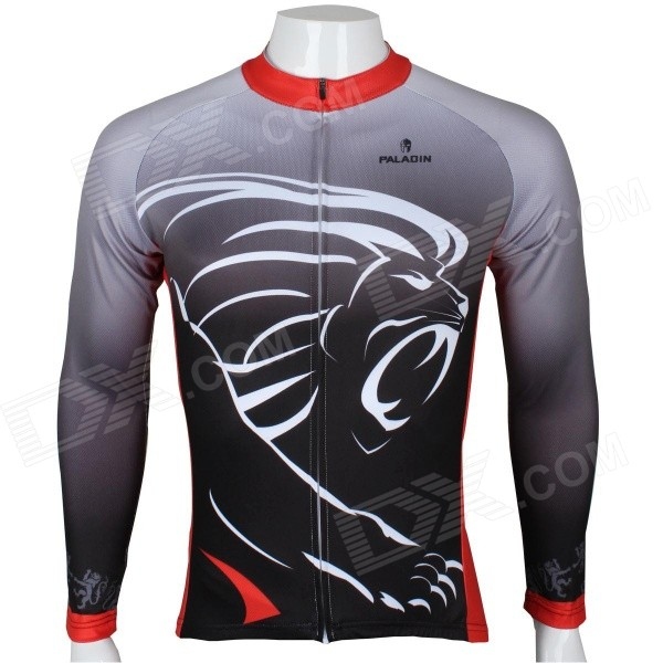 Paladinsport Patterned Long-sleeve Polyester Zipper Jersey for Cycling - Black + Gray (S)