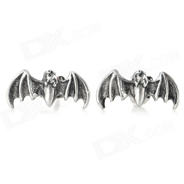 Bat Shaped Zinc Alloy Ear Studs - Antique Silver (Pair) rf2001t3s to 220f