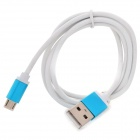 USB 2.0 to Micro USB Braided Charging Sync Data Cable for Samsung - Blue + White