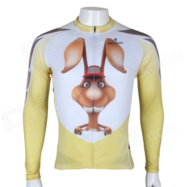 Paladinsport Patterned Long-sleeve Polyester Zipper Jersey for Cycling - White + Yellow (XL)