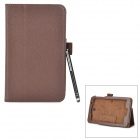Protective PU + Microfiber Case w/ Stylus Pen / Stand for Asus ME176CX - Brown