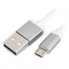 USB 2.0 to Micro USB Braided Charging Sync Data Cable for Samsung - Silvery Grey + White