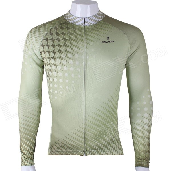 Paladinsport Patterned Long-sleeve Polyester Zipper Jersey for Cycling - Green (XL)