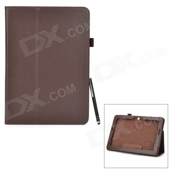 Protective PU + Microfiber Case w/ Stand / Stylus Pen for Asus Transformer Pad TF303CL - Brown protective pu leather flip open case w stand for 10 1 asus transformer pad tf303cl purple