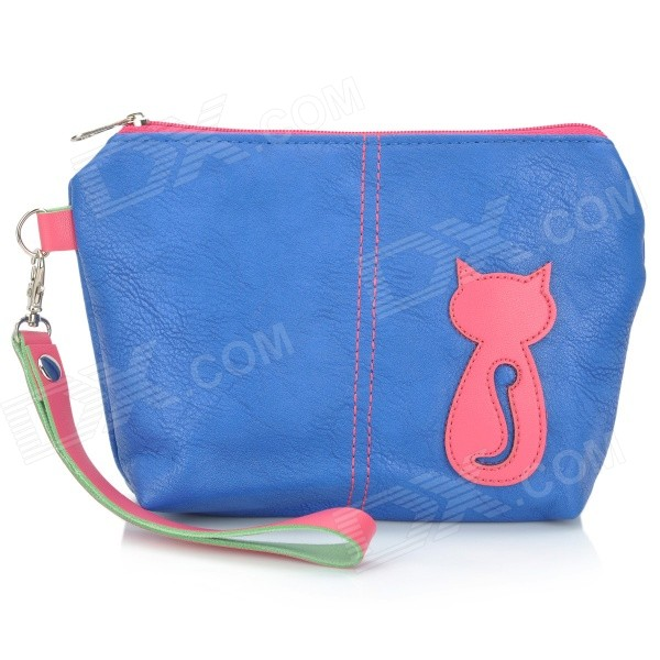 Animob A08-119 Fashion Wallet / Hand Bag / Cell Phone / Cosmetic Storage Bag - Deep Blue