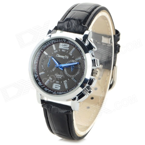 Zhongyi z-819 Women's Fashion PU Band Analog Quartz Watch - Black (1 x 626)