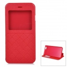 "Square Grain Protective Flip-Open PU Cover Case w/ Stand / View Window for IPHONE 6 4.7"" - Red"