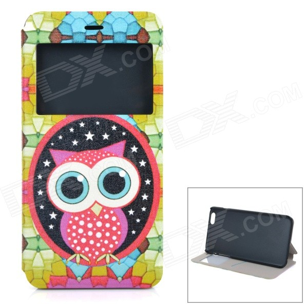 Owl Patterned Flip-Open PU + ABS Case w/ Stand / Card Slot / View Window for IPHONE 6 PLUS 5.5 roar korea noble leather stand view window case for iphone 7 4 7 inch orange