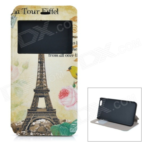 Eiffel Tower Pattern Flip-Open PU + ABS Case w/ Stand / Card Slot / View Window for IPHONE 6 PLUS cute owl pattern pu leather flip open case w stand card slot for iphone 4 4s multi color