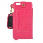 MAX A004 PU Back Case w/ Stand / Card Slot / Strap / Wristband for Samsung Galaxy Note 4 - Deep Pink
