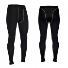 Men's Training Cycling Running Elastic Tight Fit Long Pants - Black (XXL)
