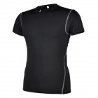 Men's Sports Tight Fit Short Jersey + Pants Set for Running / Cycling / Training - Black (L)