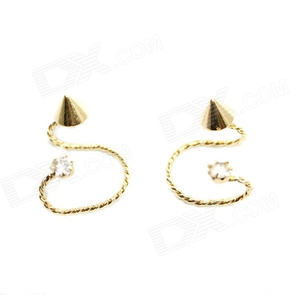 E014 Fashion Zinc Alloy + Rhinestones Rivet Clip Earrings - Golden (Pair)