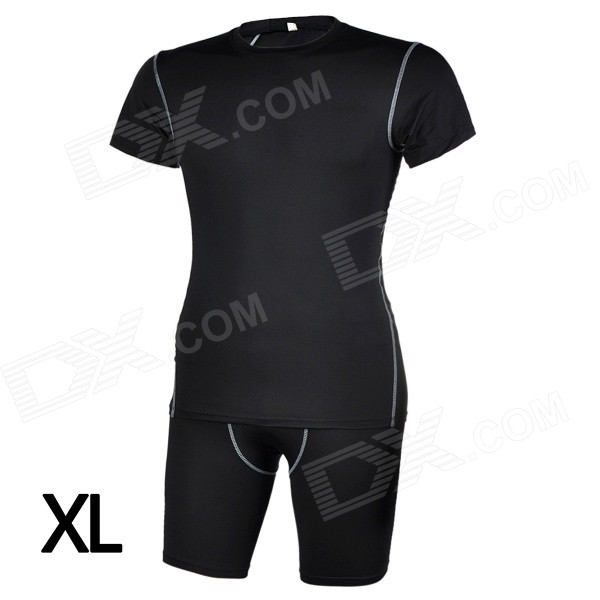 Men's Sports Tight Fit Short Jersey + Pants Set for Running / Cycling / Training - Black (XL)