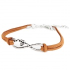 Fashion Infinity 8 + Love Style Zinc Alloy + Leatheroid Bracelet for Women - Brown + Silver