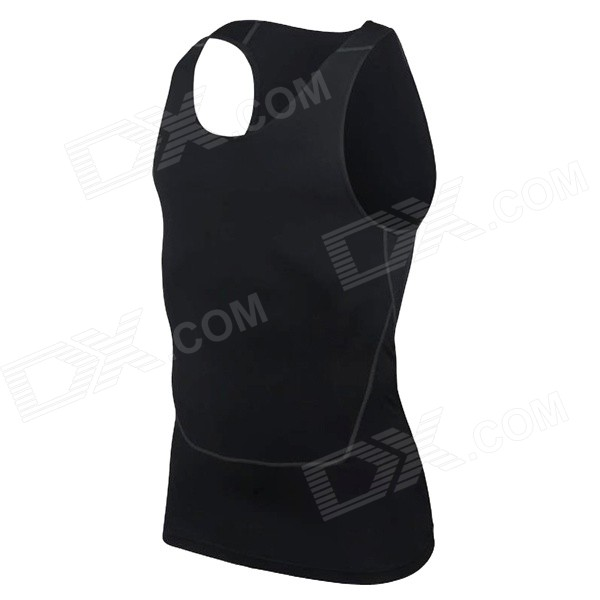 Men's Sports Elastic Tight Fit Sleeveless Vest for Training / Cycling / Running - Black (L)