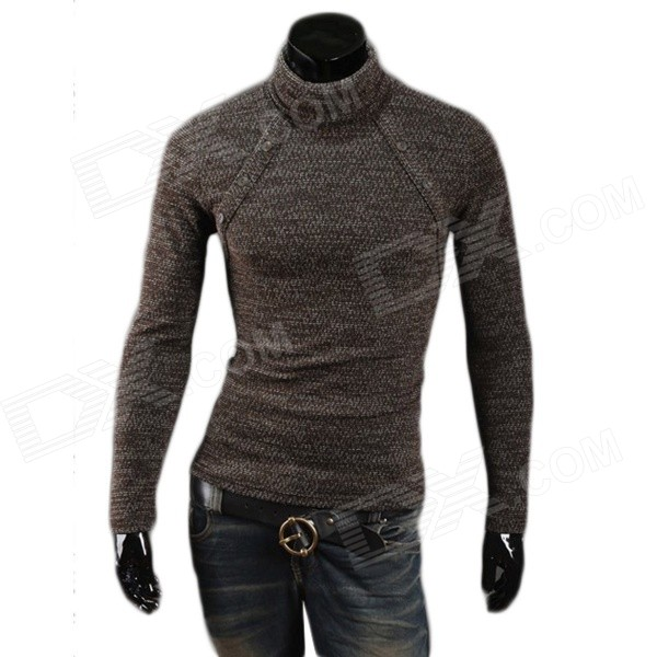 MJ14 Fashion Multi-button Men's Cotton Blend Turtleneck Sweater - Coffee (XL)
