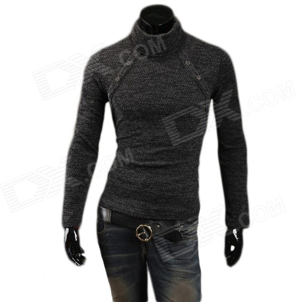 MJ14 Fashion Multi-button Men's Cotton Blend Turtleneck Sweater - Deep Grey (L) creativity essential oil blend true botanical 100% pure and natural undiluted high quality therapeutic grade blend of rosemary clary sage hyssop marjoram cinnamon 5 ml