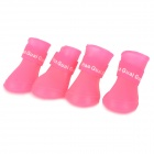 Anti-slip Rain Shoes for Pet Dog / Cat - Pink (Size L / 4 PCS)